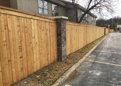 Brick Post Wood Privacy Fence