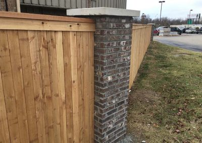 Brick Post Wood Fence