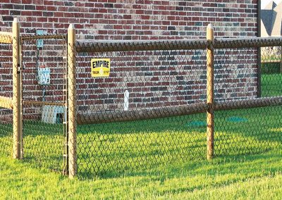 Round Rail Fence With Chain Link