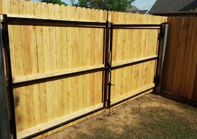 Double Wooden Privacy Fence Gate