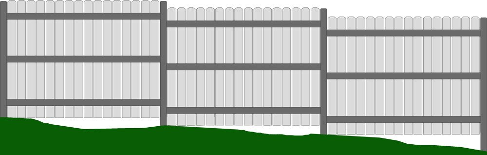 Stair Step Fence Uneven Yard With Gaps