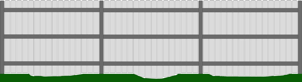 Straight Fence Uneven Yard No Gaps
