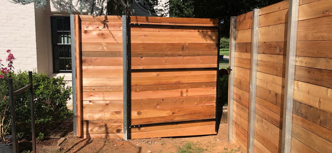 Metal Frame Wood Fence Gate