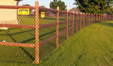 Wood Rail Fence With Chain Link