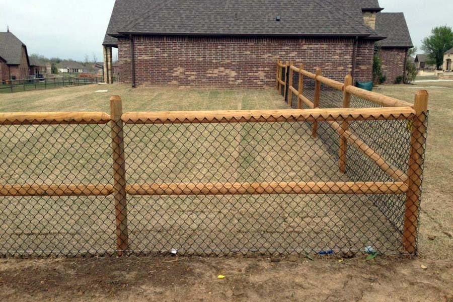 2-Rail Wood Chain Link Fence