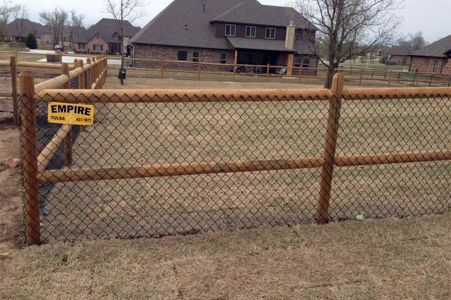 2-Rail Wood Rail & Chain Link Fence